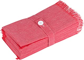 SweetNeedle Paquete de 12 Unidades Servilletas de Cena 100% de algodón Tono Doble con Volantes - Rojo-Blanco - 50 x 50 CM - Gran tamaño, Calidad Pesada, sin Pelusa, servilletas de categoría Hotel