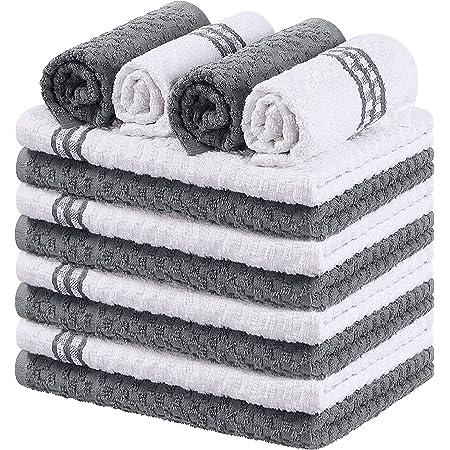 Utopia Towels - 12 Torchons de Cuisine - Serviettes de Cuisine 100% Coton - Lavable en Machine (38 x 64 cm - Gris)