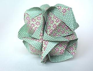 origami Clover Kusudama, 12 moduli verde con motivo di girandole rosa