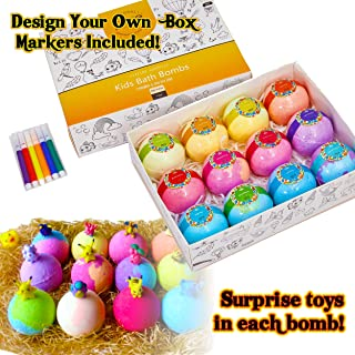 Kids Bath Bombs Gift Set - 12 4.2 oz Surprise Bath Bombs for Kids with Toys Inside! Make Bathtime Fun with Lush Bath Bombs with Surprise Inside!