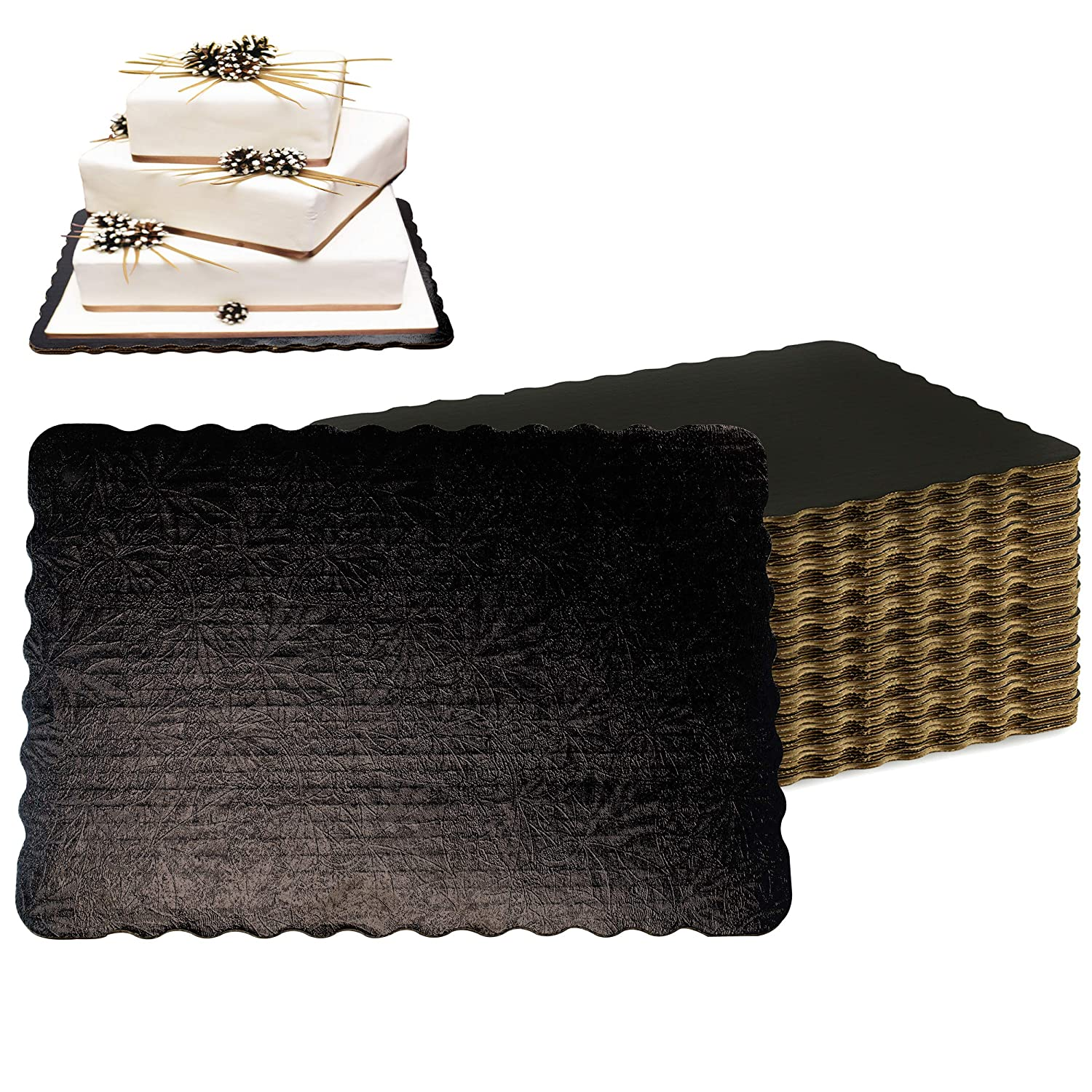 100 Pack 14x10 Inch Louisville-Jefferson County Mall Black Corrugated Re Board Laminated Cake Max 84% OFF -