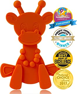 Baby Teething Toy Extraordinaire - Little Bambam Giraffe Teether Toys by Bambeado. Our BPA Free Teethers Help take The Stress Out of Teething, from Newborn Baby Through to Infant - Orange