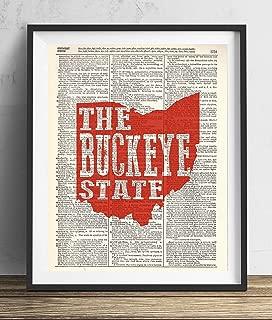 Ohio The Buckeye State Upcycled Dictionary Art Print 8x10