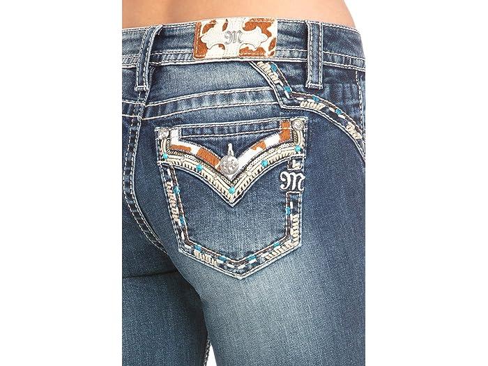 Miss Me Cow Hide Flap Yoke Trim Bootcut Jeans In Dark Blue