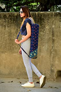 Blue Floral Mandala Meditation Mat Bag Large Adjustable Shoulder Strap Exercise & Yoga Bag By Handicraft-Palace