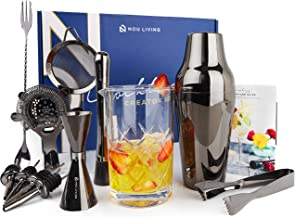 Cocktail Shaker Set with Mixing Glass   The Ultimate Mixology Bartender Kit and Cocktail Set for Drink Mixing   Complete Bar Set with Drink Shaker, Muddler, Bar Tools & Recipe Book (Gun Metal Black)