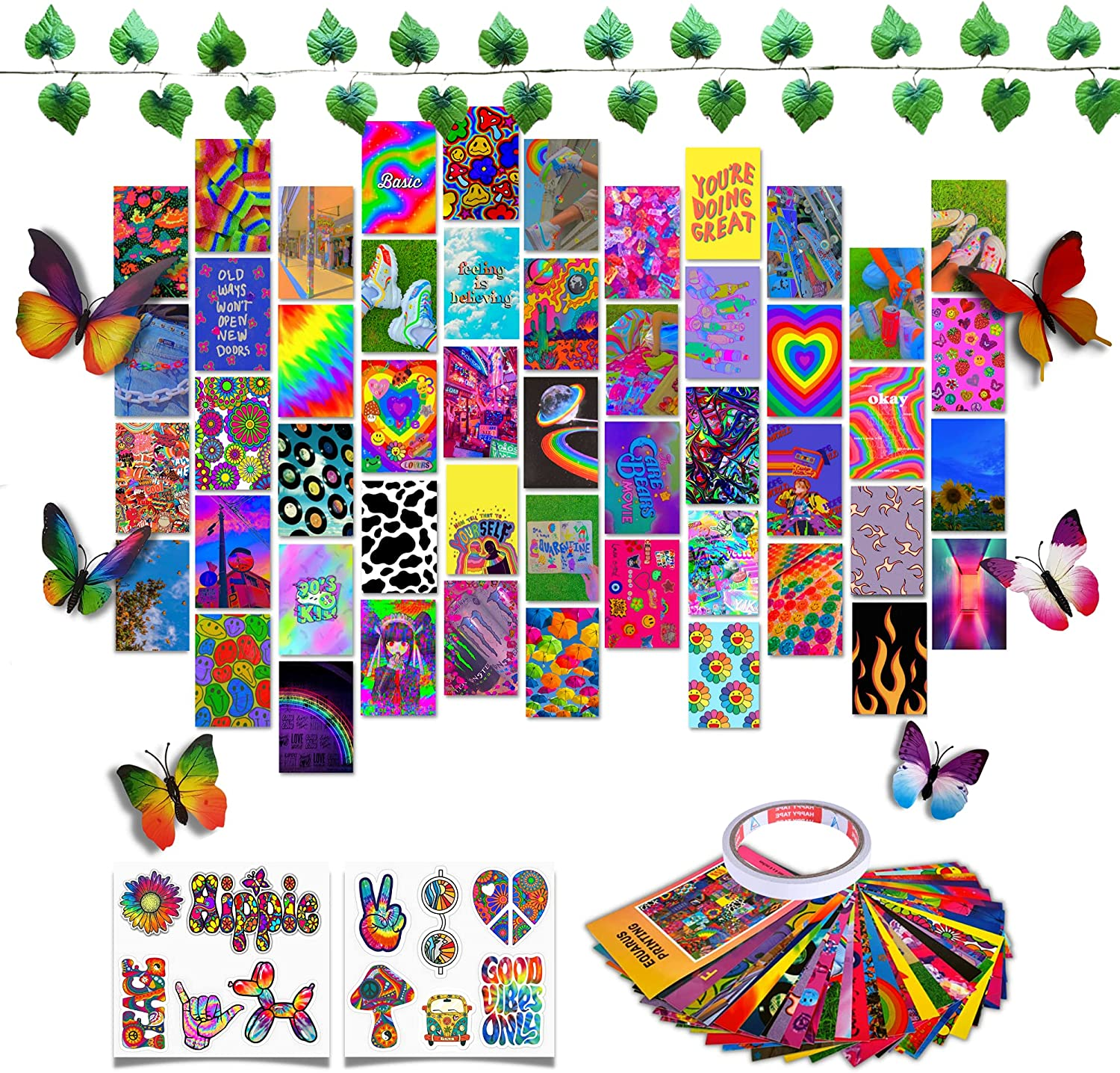 Indie Decor Wall Collage Kit Aesthetic Pictures, Indie Posters For Kidcore Room Decor, Dreamcore Aesthetic Room Decor For Teen Girls Bedroom, Trippy Decor Picture Cute Photo