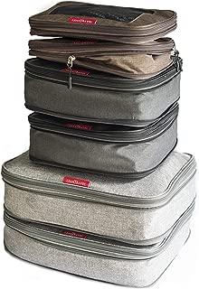 LeanTravel - Juego de 6 bolsas organizadoras de compresión para equipaje de viaje / doble zipper (mixto)