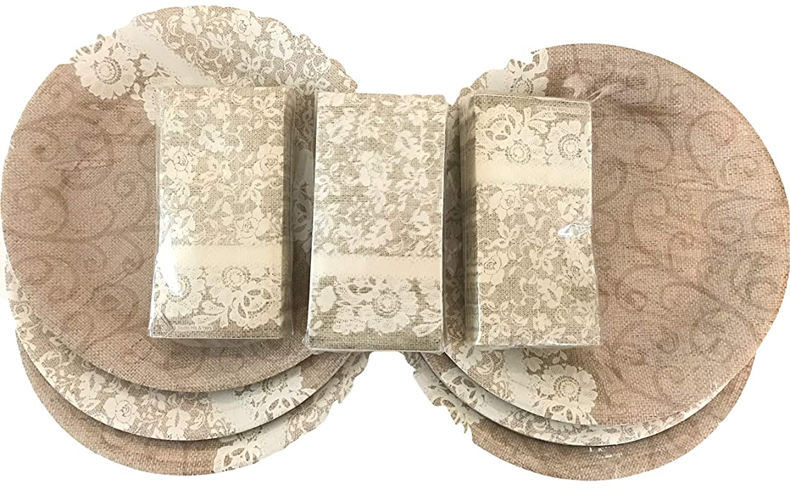 Rustic Burlap & Lace 10.5 in plates & napkins 72 place setting, country wedding, receptions, banquets, parties, showers, teas, anniversary, birthday