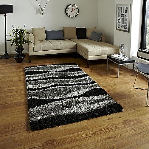 BRAVICH RugMasters Extra Large Black & Grey Wave Pattern Wavy Design Mix Super Soft High Deep