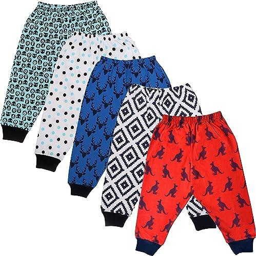 tiddlee® Kids Fashion - Soft Cotton Pyjama Combo Set for Boys (Pack of 5) - Baby Pajama pajami Lower Kids Legging Tro...