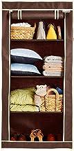 Amazon Brand - Solimo 1-Door Foldable Wardrobe, 4 Racks, Brown