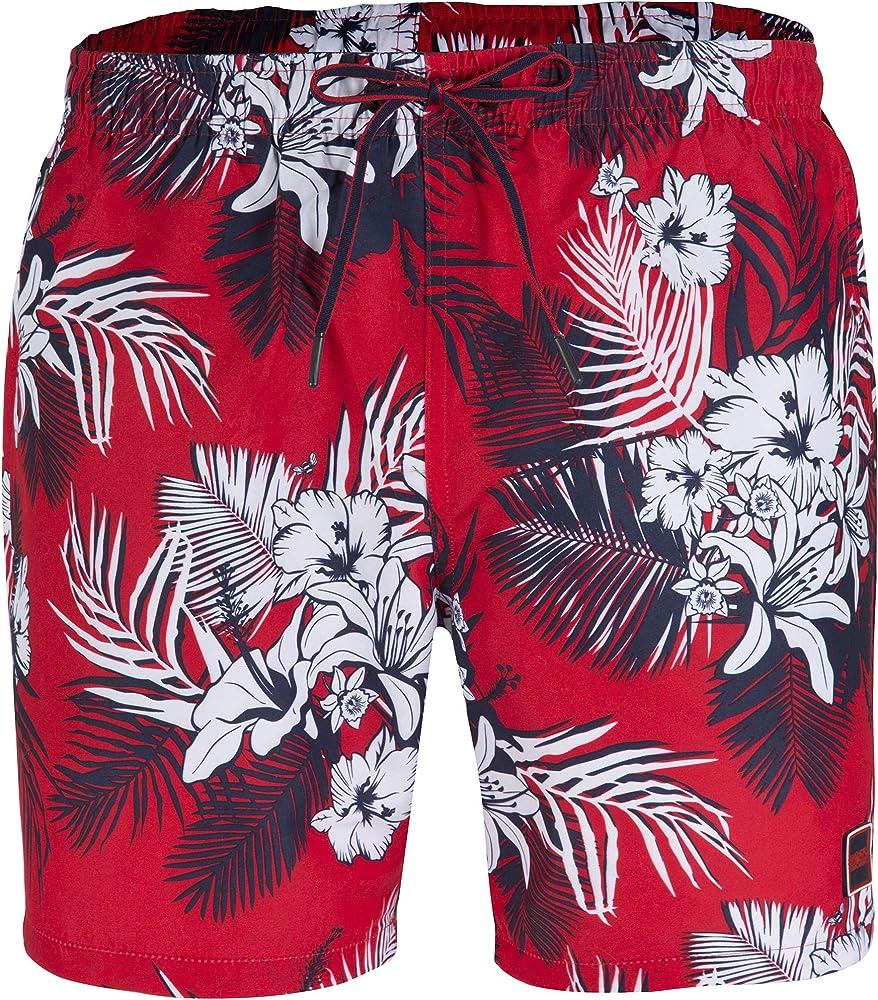 Hugo boss piranha, costume a pantaloncini da uomo, rosso a fiori, 100% poliestere 50385415