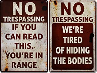 JOYIN Halloween Signs, No Trespassing, Funny Metal Tin Sign for Halloween Decorations, Creepy Home Decor