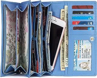 Women RFID Blocking Genuine Leather Bifold Wallet-Clutch For Women-Shield Against Identity Theft