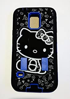 Samsung Galaxy S5 Hello Kitty Hybrid Blue Black for Women & Teen Girls phone Protector Case + Bukit Cell Metallic stylus pen