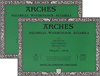 "Arches Watercolor Paper Block, Cold Press, 9"" x 12"", 140 Pound - 2 Pack"