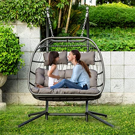 Brafab 2 Person Double Swing Chair Hanging Egg Chair Rattan Wicker Hammock with Stand and Cushion, Aluminum Frame, Grey Cushion