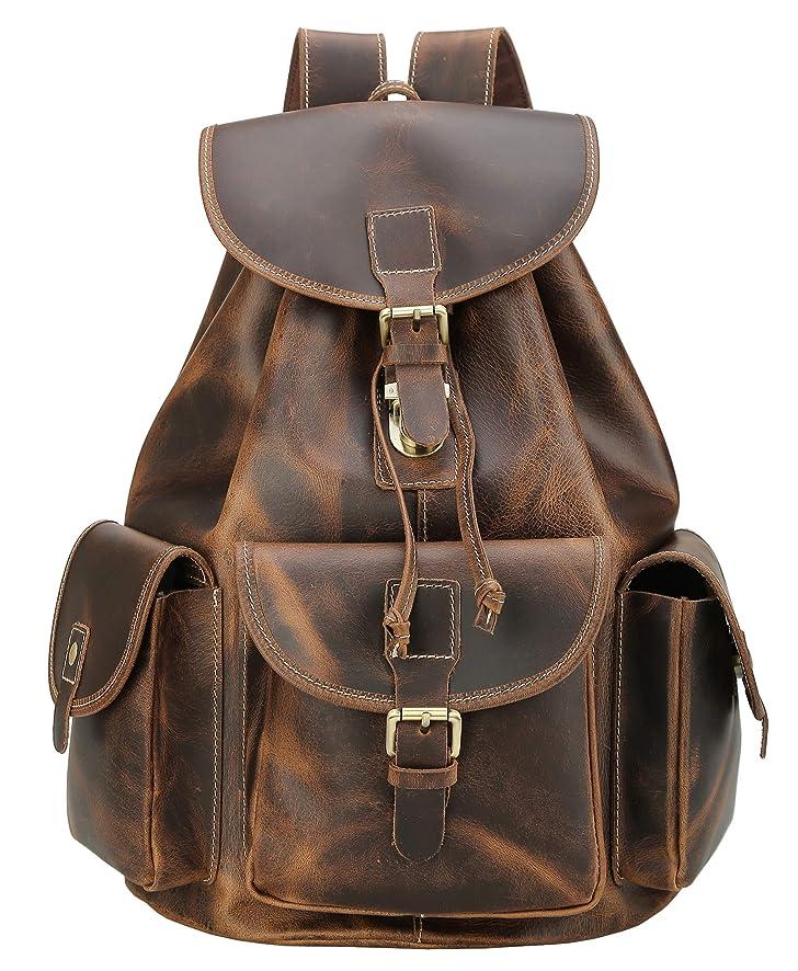 Polare Full Grain Leather Backpack Vintage College Laptop Bag