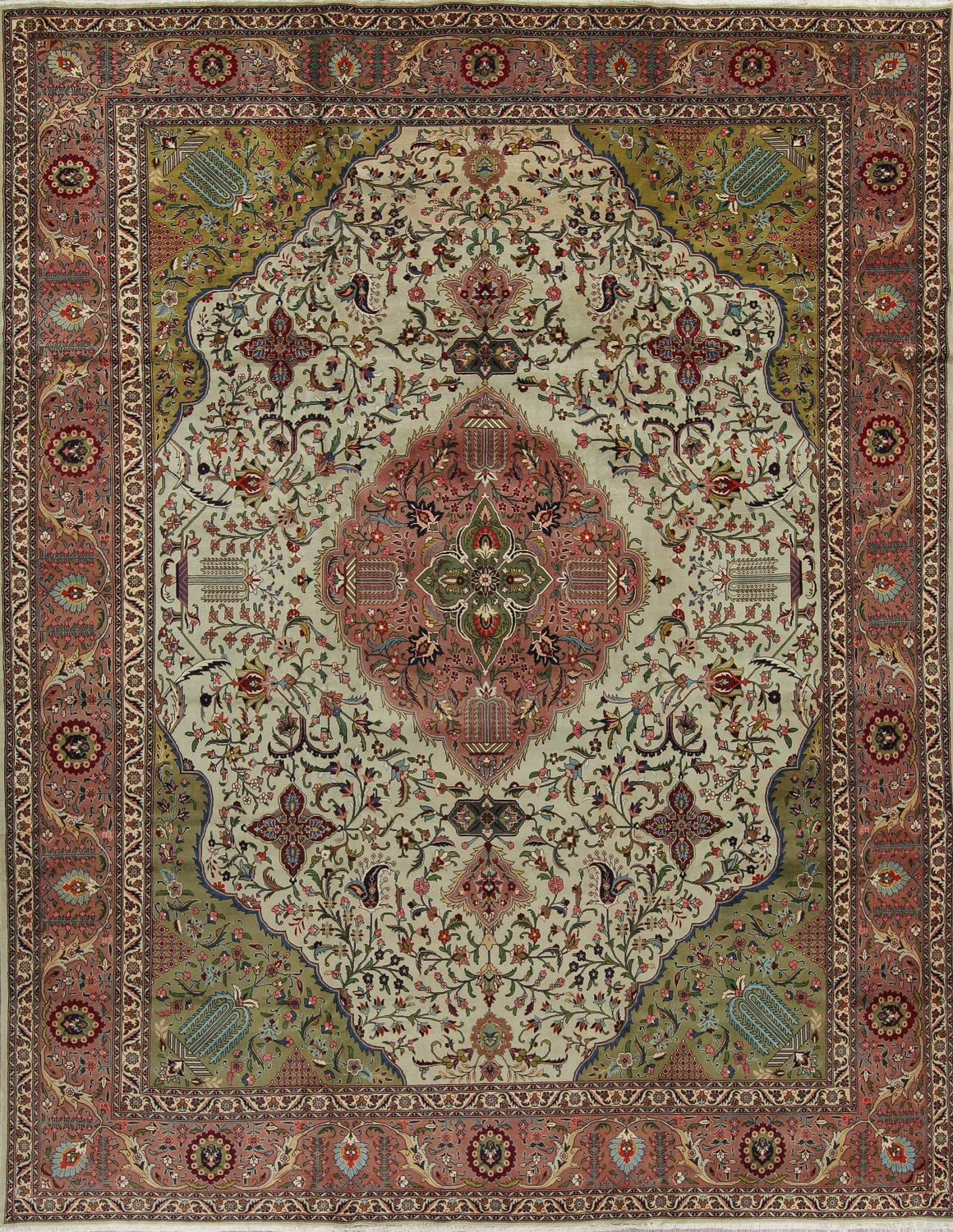 Sale item Rug Purchase Source One-of-A-Kind Tebriz Floral Hand-Knotted Green 10x13