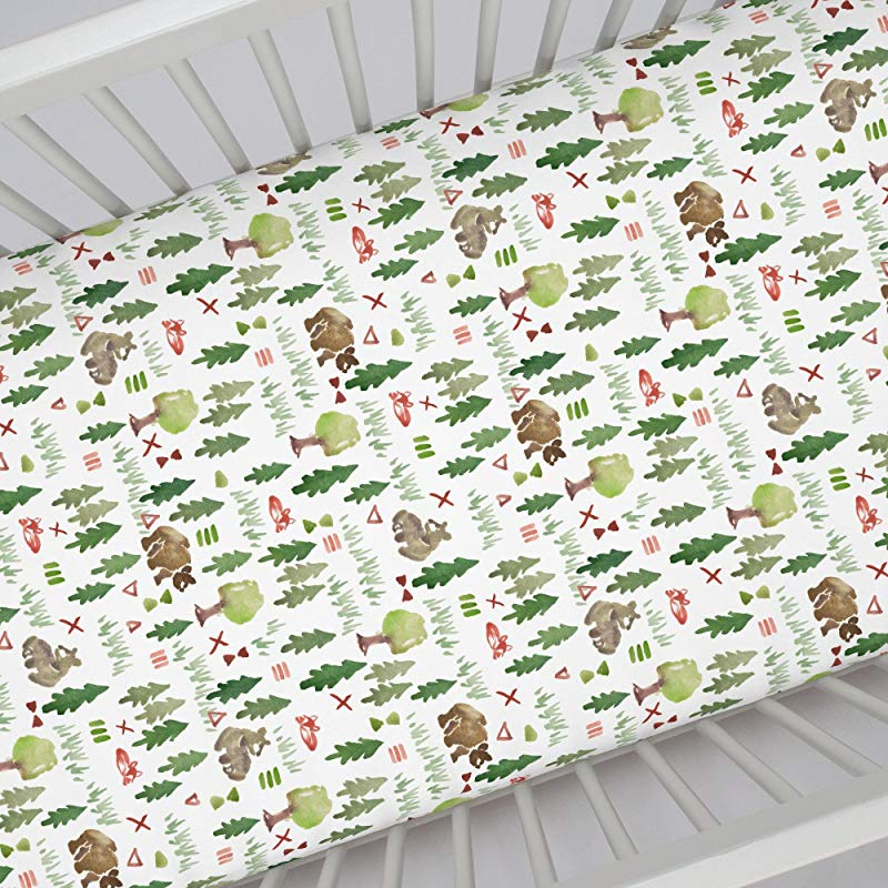 Carousel Designs Watercolor Forest Crib Sheet Organic 100 Cotton Fitted Crib Sheet Made In The USA