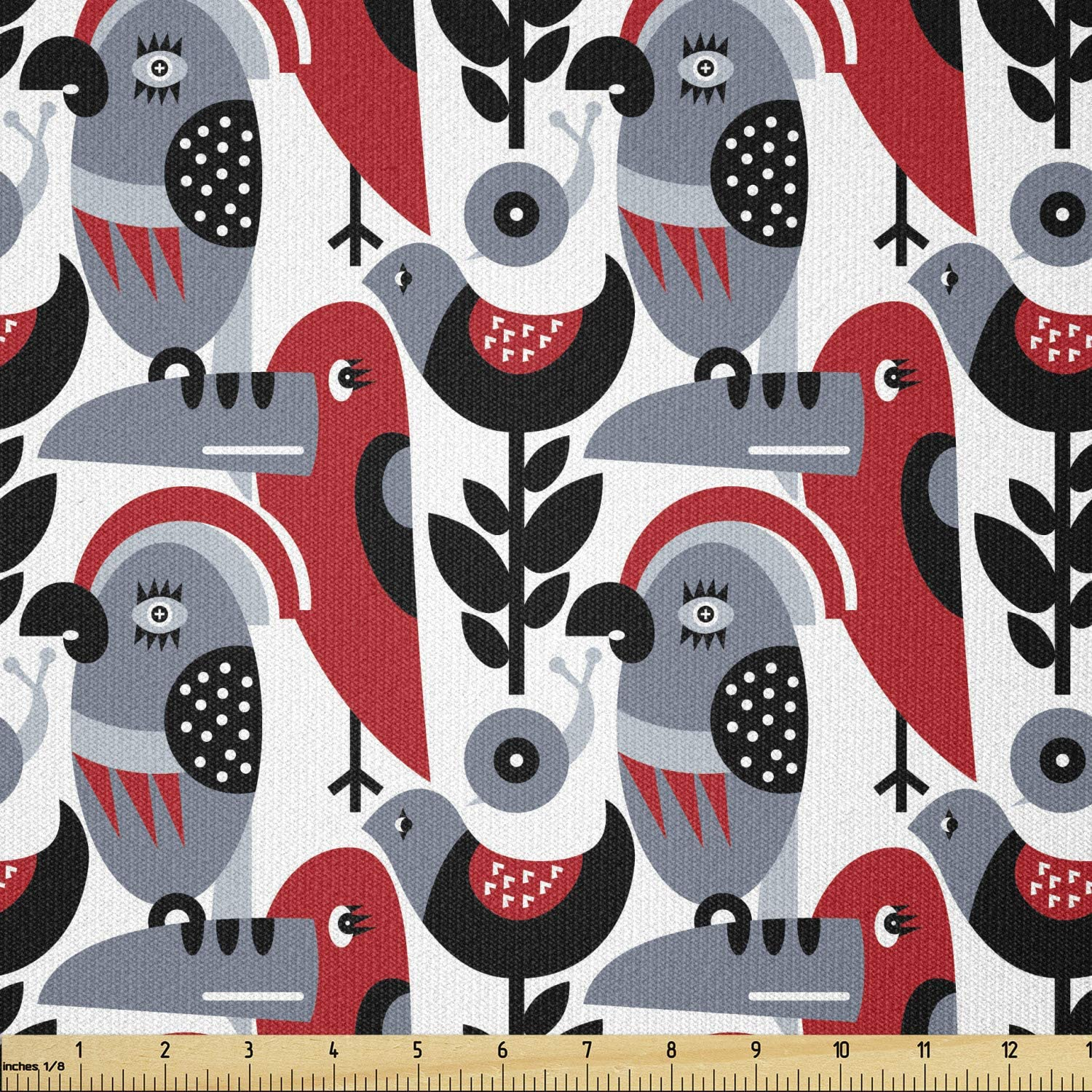 Lunarable Challenge the lowest price Abstract Fabric by The Scandinavian Yard Inspired Bir free