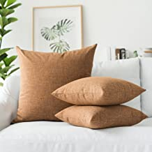 """Kevin Textile Star Lined Linen Soft Solid Throw Cushion Pillow Covers, Polyester & Polyester Blend, Hazel Brown, 26""""x26"""",S..."""
