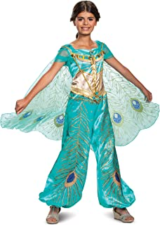 Disney Jasmine Aladdin Deluxe Girls' Costume, Teal