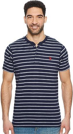 Short Sleeve Henley Striped T-Shirt