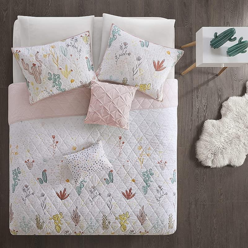 Urban Habitat Kids Desert Bloom 100 Cotton Printed Reversible Floral 5 Piece Quilt Coverlet Bedspread Bedding Set Full Queen Size Red Multi