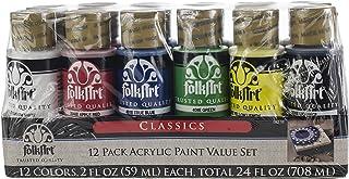 FolkArt 5211E 12 Color Acrylic Paint Set, Multicolor