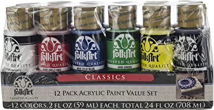 FolkArt 5211E 12 Color Acrylic Paint Set, Multicolor