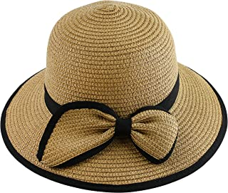 Wasolola Straw Hat for Women Sun Beach Hat Floppy Wide Brim Black Edge Chin Strap Fashion Cute Bowknot