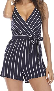 INIBUD Women's Romper Striped Sexy V-Neck Self-Tie Waist Adjustable Spaghetti Straps Wide Leg Loose Cute Summer