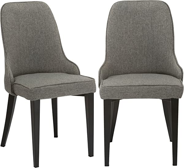 BTEXPERT Classic Fabric Upholstery Dining Chairs Set Of 2 Grey