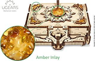 UGEARS Amber Box 3D Mechanical Model, Wooden Treasure Box, for Her from