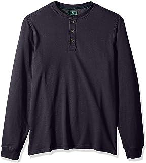G.H. Bass & Co. Men's Big and Tall Carbon Long Sleeve Jersey Henley Solid Shirt