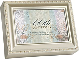Cottage Garden 60th Anniversary Celebrate Love Silvertone Rope Trim Jewelry Music Box Plays Unchained Melody