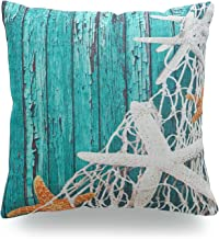 Hofdeco Decorative Throw Pillow Cover HEAVY WEIGHT Cotton Linen Vintage Sea Life Starfish Netting Beach Wood 18x18 45cm x 45cm