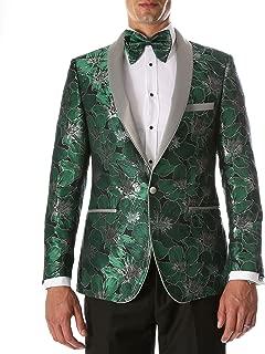 Ferrecci Men's Hugo Modern Fit Shawl Collar Floral Tuxedo Blazer
