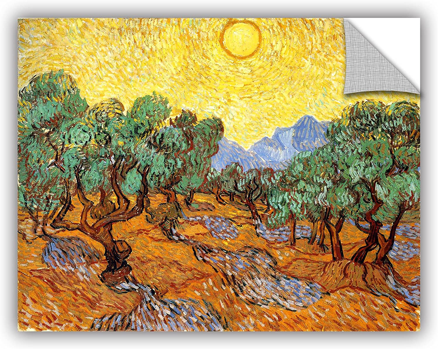 ArtWall Vincent Vangogh's Olive Trees with Yellow Skies and Sun, Art Appealz Removable Wall Art Graphic, 14 by 18-Inch