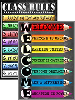 Welcome Poster and Class Rules Poster- Laminated, Size 14x19.5 in.- Back to School Classroom Decorations, Educational Posters, Teacher Supplies for Kindergarten and Elementary (Welcome and Rules)