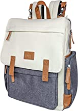 Cutie Carry Large Diaper Bag Backpack - Waterproof Multi Pockets Diaper Backpack - Unisex Design Modern Diaper Bag with Changing Pad and Stroller Straps - Cream/Grey