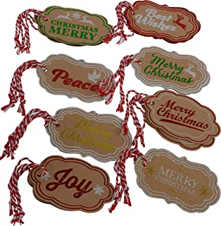 Holiday Gift Tags, Assorted Christmas Designs, 24 Tags (Brown Kraft)