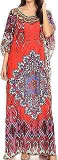 Sakkas Jabari Women's Maxi Short Sleeve Long Beach Kaftan Dress Boho Loose Gown