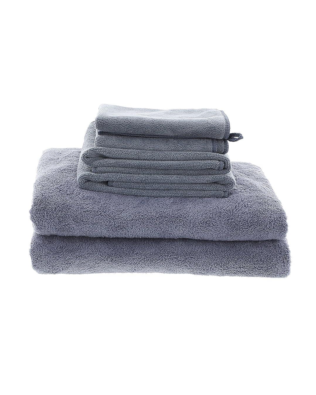 Best Grey MojaFiber Microfiber Bath Combo Bath Towel (2) | Hand Towel (2) | Face Cloth (2)