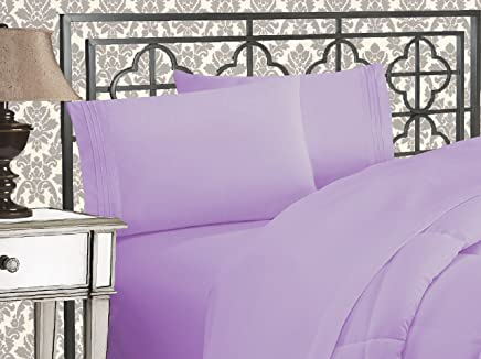 """Elegance Linen ® 1800 Thread Count SCROLL DESIGN Egyptian Quality Luxurious Silky Soft WRINKLE & FADE RESISTANT 4 pc Sheet set, Deep Pocket Up to 16"""" - All Size and Colors , Queen Lilac"""