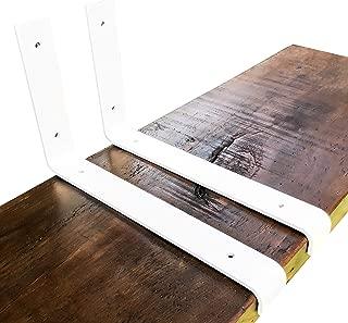 Industrial Forged Steel Floating Shelf L Bracket with Lip by DIY CARTEL - Powder Coated Raw Metal/Steel Floating Shelf Hardware - 2 Pack - Farmhouse Scandinavian Shelf Brackets (11.25in X 6in, White)