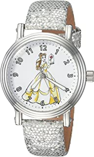 DISNEY Women's Princess Belle Analog-Quartz Watch with Leather-Synthetic Strap, Silver, 16 (Model: WDS000238)