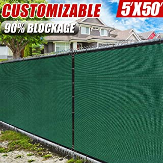 Amgo 5' x 50' Green Fence Privacy Screen Windscreen,with Bindings & Grommets, Heavy Duty for Commercial and Residential, 90% Blockage, Cable Zip Ties Included, (Available for Custom Sizes)